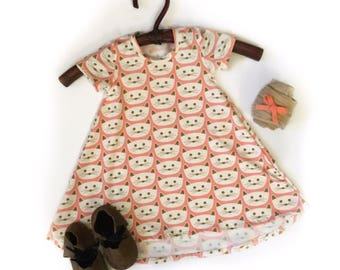Size 3-6 month Kitty Cat Twirl Dress with high low hem for baby and toddler girls sizes newborn to 5/6T READY TO SHIP