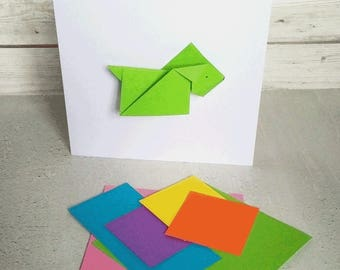 Greetings Card - Dog- removeable origami dog, chinese new year, birthday, get well soon, hello, mothers day
