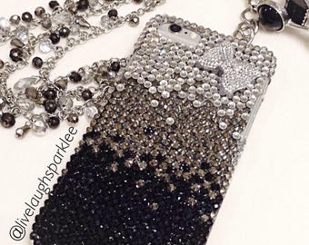 Bling Phone Case, Black Silver Ombré Bow Cell Phone Case, Bedazzled iPhone Samsung Phone Covers