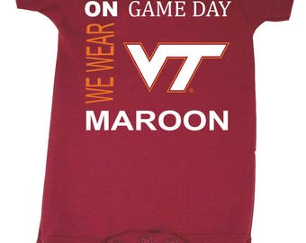 Virginia Tech Hokies On Game Day Baby Bodysuit
