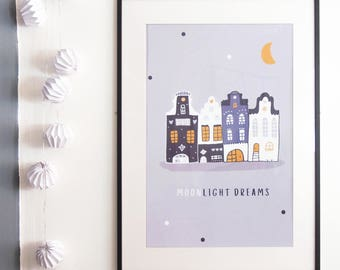 Grande affiche - Moonlight Dreams - Décoration - Cadre mural/Maisons/Chambre-Enfants/Poster / Bébé / Garçon Boy / Amsterdam / Good night