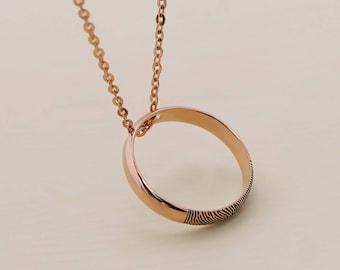 SALE 30% OFF - Actual Fingerprint Circle Necklace - Fingerprint Necklace -  Actual Signature - Keepsake Jewelry - Engagement Gift