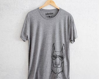 Ace the Doberman - Tri-Blend Unisex Crew Grey -  Illustrated Shirt, Dog Lover Gift, Dog Mama TShirt, Love My Dog, Gift for Her
