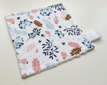 Floral baby lovey, Baby girl comforter, Minky baby lovey, Newborn girl gift, Nature comforter, Autumn leaves lovey, White ribbon tag lovey