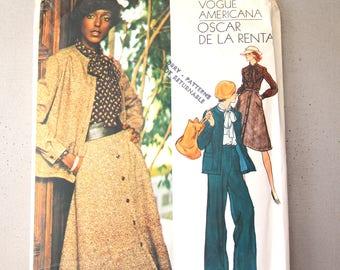 Vintage Vogue Americana Pattern, Pattern No 1163; ca. 1975; Oscar de La Renta - Misses' Jacket, Skirt, Pants and Blouse, size 14, 36 pieces