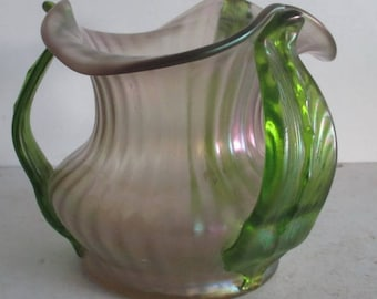 Loetz  art nouveau vase with green glass handles