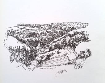 Wye Valley, original line drawing, Tintern, pen & ink, sketched using continuous line, unframed