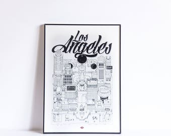 Los Angeles - series illustration * Travel With Me *. Black and white. 21 x 29.7 cm