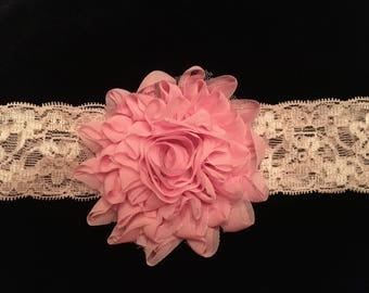 Pink Lace Baby Headband with pink flower