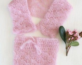 Crochet Newborn Baby Bolero and Skirt set, crochet baby skirt, newborn photo prop, mohair baby jacket, newborn set, photo prop