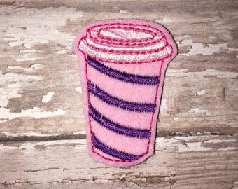 Set of 4 Latte Felties Coffee Cup To Go Latte Cocoa Glitter Feltie Felt Embellishment Bow! Felties Planner Clip Striped Pink Purple