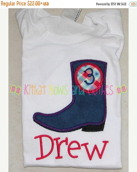 On sale boy cowboy boot birthday applique shirt and matching for Applique shirts for sale