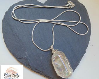 Aura Quartz Tumblestone Wire Wrapped Silver Necklace ~ Gemstone Crystal Healing ~ Hand Crafted Ooak