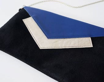"Dress handkerchief ""Mona"" leather tri-color black, blue and light gold chain"