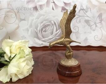 Vintage Brass Eagle Figure On Wooden Plinth