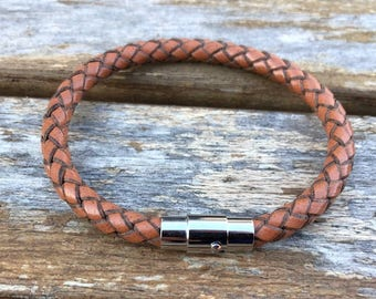Leather Bracelet, Braided Bolo Leather With Stainless Steel Magnetic Clasp, 5 Colors, Custom Sizes, CS-1