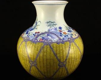 N3820 Superb Chinese Qing Dy Gilt Edges Wu Cai Porcelain Vase w Qian Long Mark