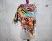 nuno felted silk scarf, wrap scarf,  felted  shawl, felt scarf, Feltmondo