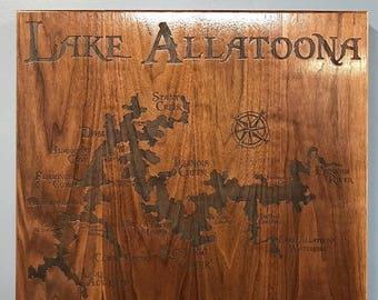"ON SALE Beautiful 22""x 20"" Walnut Lake Allatoona Laser Engraved Sign"