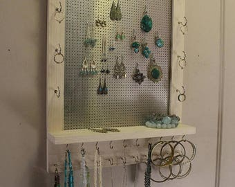 ON SALE Elegant Rustic Pickled and Chrome Ready To Ship Wall Mounted Jewelry Organizer,Jewelry Rack, Jewelry Display, Necklace and Earring H
