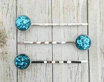 Blue Glitter Hair Slides. Glitter Bobby Pins. Glittery Hair Grips. Handmade Hair Slides. Prom Hair. PACK of 3.  Made in Australia
