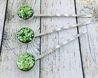 Green Glitter Hair Slides. Glitter Bobby Pins. Glittery Hair Grips. Handmade Hair Slides. Prom Hair. PACK of 3.  Made in Australia
