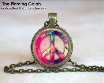 Peace Sign Pendant • Purple and Pink • Watercolour • Free Spirit • BoHo • Yoga • Meditation • Gift Under 20 • Made in Australia (P1558)