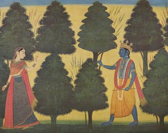 Indian Miniature Painting 1959 printed reproduction - Krishna Following Radha