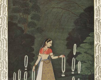 Indian Miniature Painting 1962 printed reproduction - Waiting for the Lover