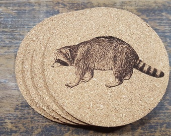 Raccoon Cork Coasters (Set of Four)