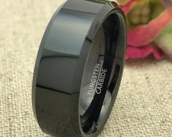 8mm Personalized Tungsten Wedding Band, Custom Engraved Black Tungsten Ring, Wedding Ring, Promise Ring, Couples Ring for Him, Purity Ring