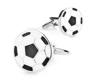 Men's Cuff Links - Soccer Ball White, Black, Silver Colored  Weddings / Everyday / Gift