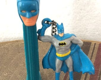 Vintage Antique Retro Estate Batman Pez Candy Dispenser and Keychain