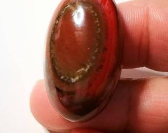 Jasper Cabochon natural stone 18x31mm 1 red eye