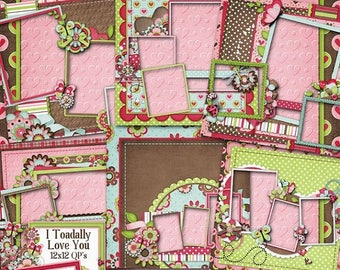 On Sale 50% I Toadally Love You Digital Scrapbook Kit 12x12 Quick Pages - Digital Scrapbooking