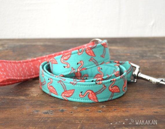 Leash for dog model Florida. Handmade with 100% cotton fabric and webbing. Wakakan
