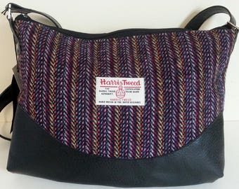 Black Harris Tweed and Leather Shoulder Bag