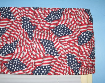 TOSSED Stars and Stripe American Flag Cotton Window Topper and Valance