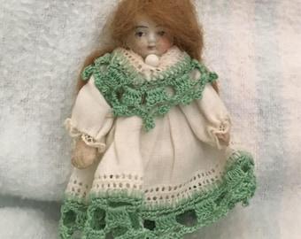 """3"""" All Original Dollhouse Doll Green"""