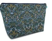 Extra Large Cosmetic Bag - Toiletry Bag - Travel Bag - Makeup Bag - Wet Bag - Accessory Pouch - Rifle Paper Co - in Navy Tapestry