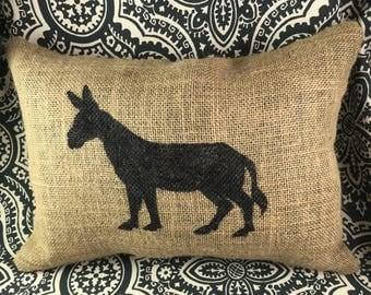 Donkey Burlap Pillow, Burlap Pillow, Farm Decor, Rustic Decor, Rustic Pillow, Farmhouse Decor, Farm Animals, Front Porch Pillow, Farm Pillow