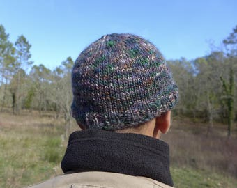 pure hand knitted multicolor men Hat wool