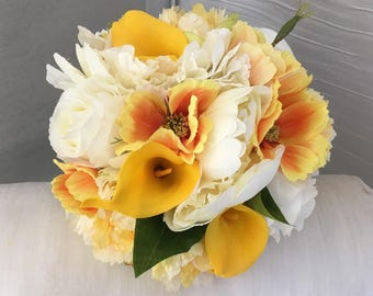 Beautiful Artificial Bridal Bouquet In Yellow And Ivory Wedding Flowers Calla Lily
