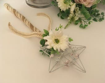 Rustic wedding Flower Girl - Bridesmaid Wand ivory gerbra- hessian country style