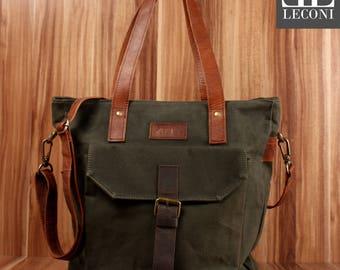 LECONI Shopper Shoulder Bag bag tote bag leather canvas green LE0045-C