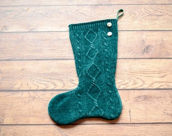Knit Christmas Stocking from an Up-cycled green chenille sweater, Rustic Christmas stocking, holiday stocking. fully lined stocking