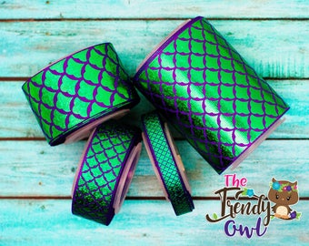 "1.5"" Green Laser Foil Mermaid Scales on Purple Ribbon - U.S. DESIGNER - High Quality Grosgrain Ribbon - 5yd Roll"