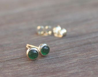 Emerald Earrings, Emerald Studs, 14k, gold emerald studs, solid gold studs, may birthstone, gemstone studs, natural emerald earrings