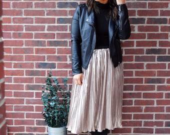 SALE! Metallic Gold Pleated Skirt