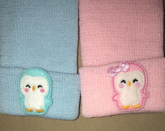Twins! Two 2 Thicker Knit Newborn Hospital Hats With Penguins! Great for Gender Reveal. Or Bring Both! Great Gift